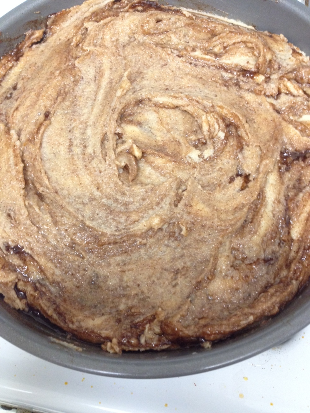 Swirled topping and cake baked!